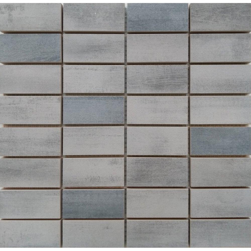Floorwood Gray Graphite Mix Mosaic 12x12